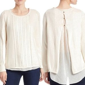 Lucky Brand Layered Chiffon Underlay Sweater XL